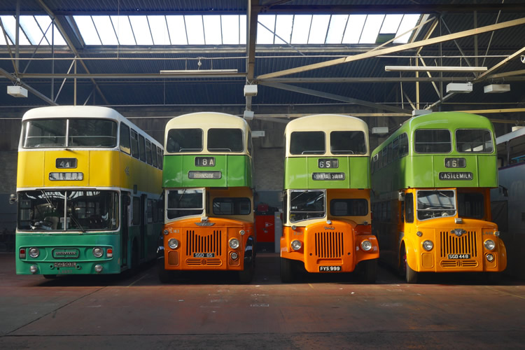 Buses in garage