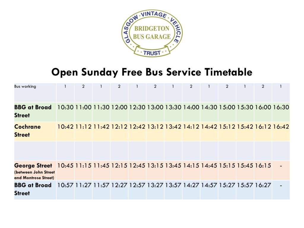Shuttle Bus Timetable Sunday 4th July